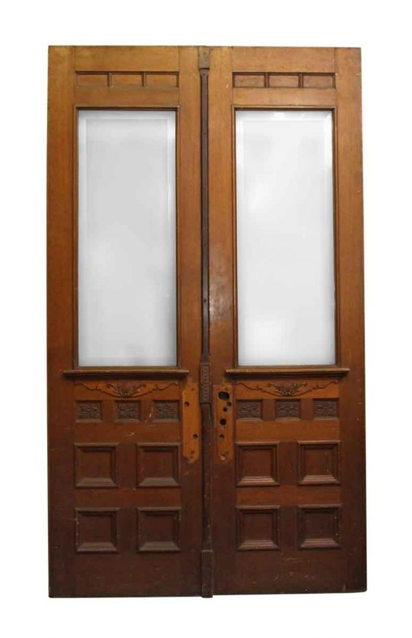 Entry Doors - Double Carved Wooden Entry Doors with Beveled Glass Panels