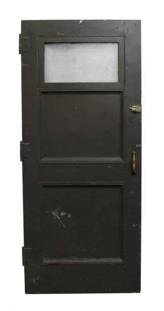 Gray Wooden Door With One En Wire Gl Panel