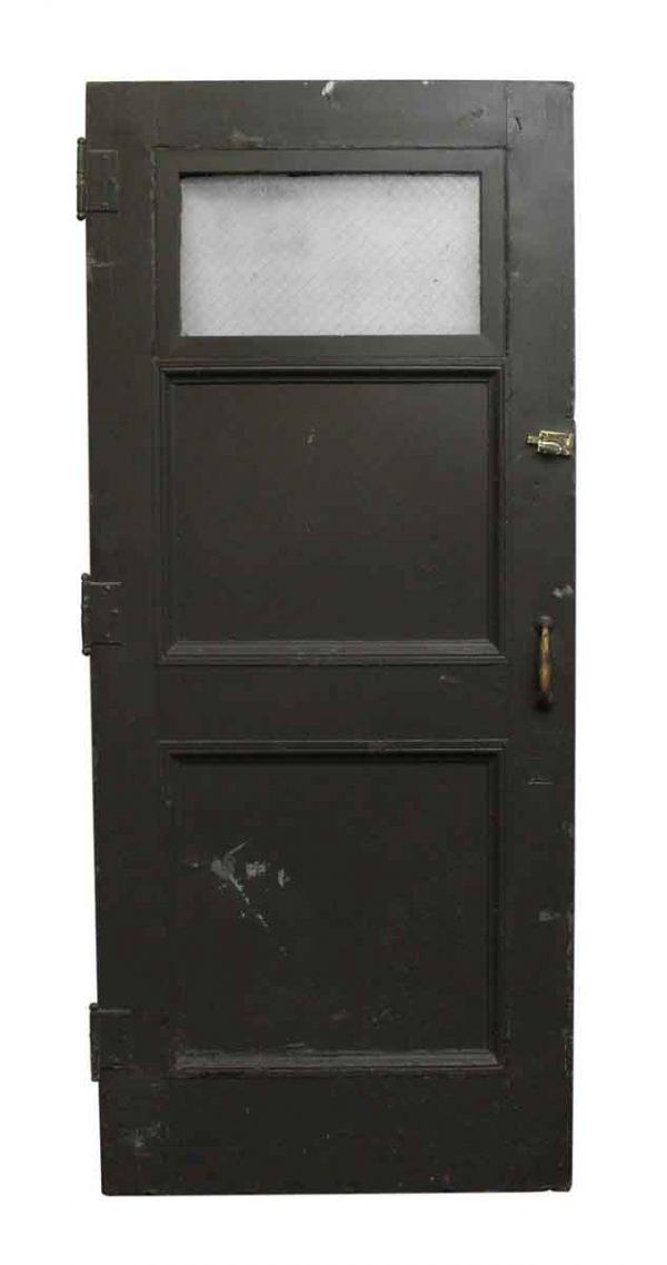 Entry Doors - Gray Wooden Door with One Chicken Wire Glass Panel