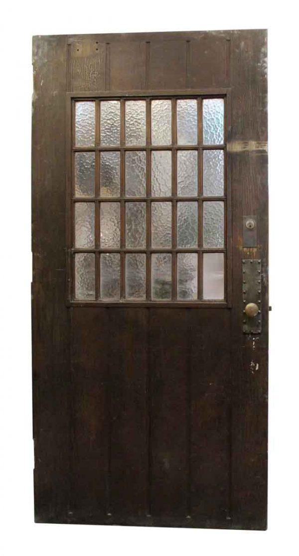 Entry Doors - Large Wood Door with 24 Textured Glass Panels