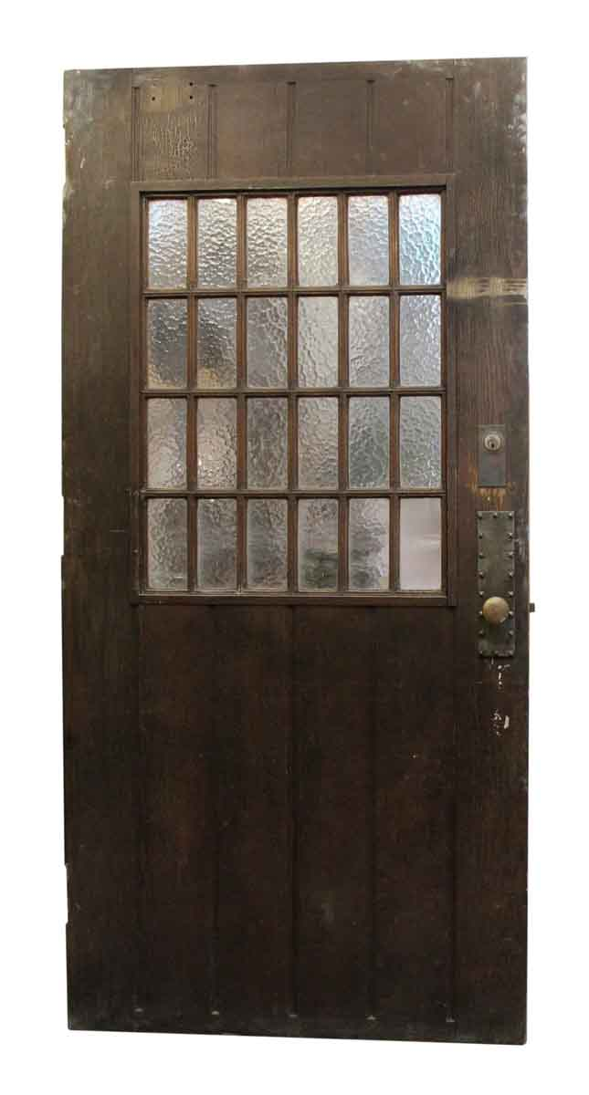 Large Wood Door With 24 Textured Glass Panels Olde Good Things