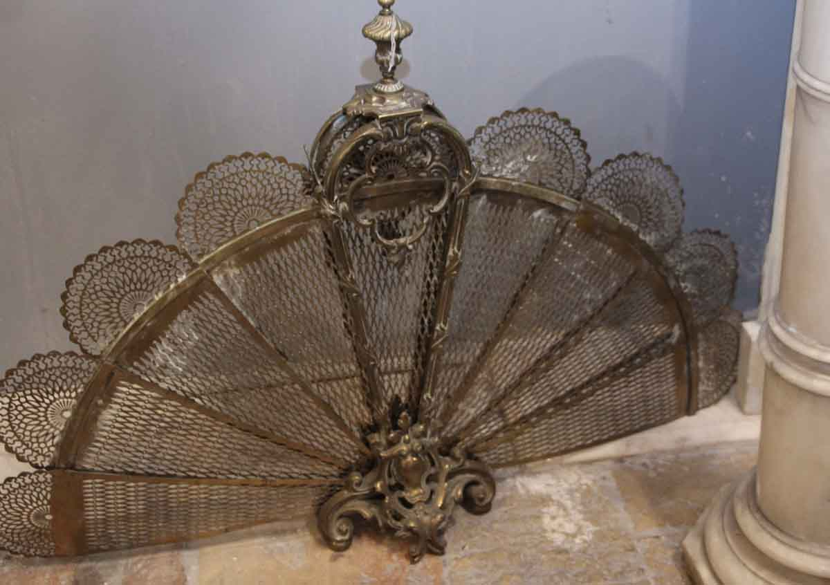 Antique Brass Fan Fireplace Screen Olde Good Things