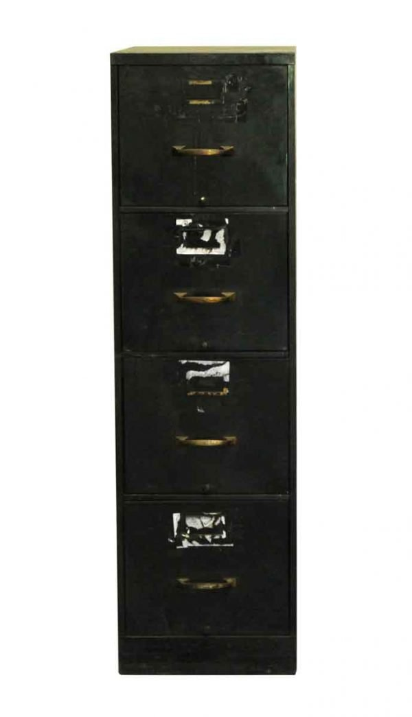 Office Furniture - Four Drawer Black Metal Spak & Natovich Cabinet