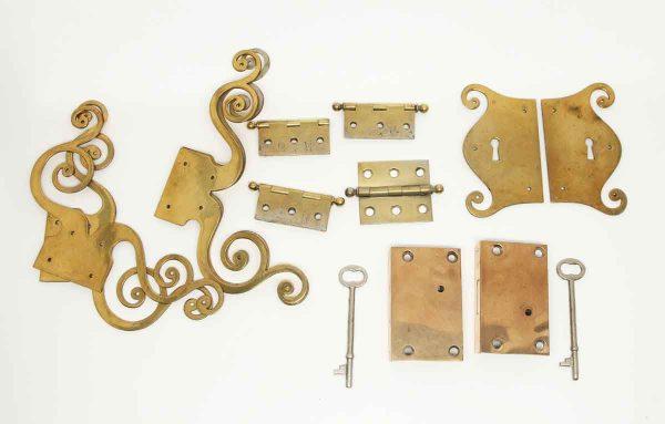 Other Cabinet Hardware - Vintage Brass Swirl Hutch Hardware Set