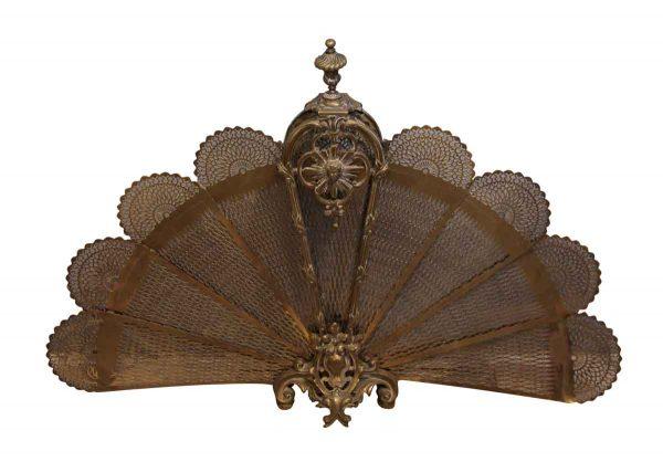 Screens & Covers - Antique Brass Fan Fireplace Screen