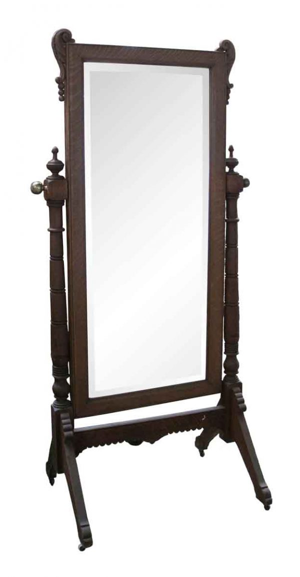 Antique Mirrors - Cheval Beveled Oak Mirror