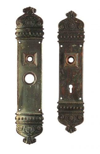 Antique Russwin Bronze Courtenay Entry Door Plate Set