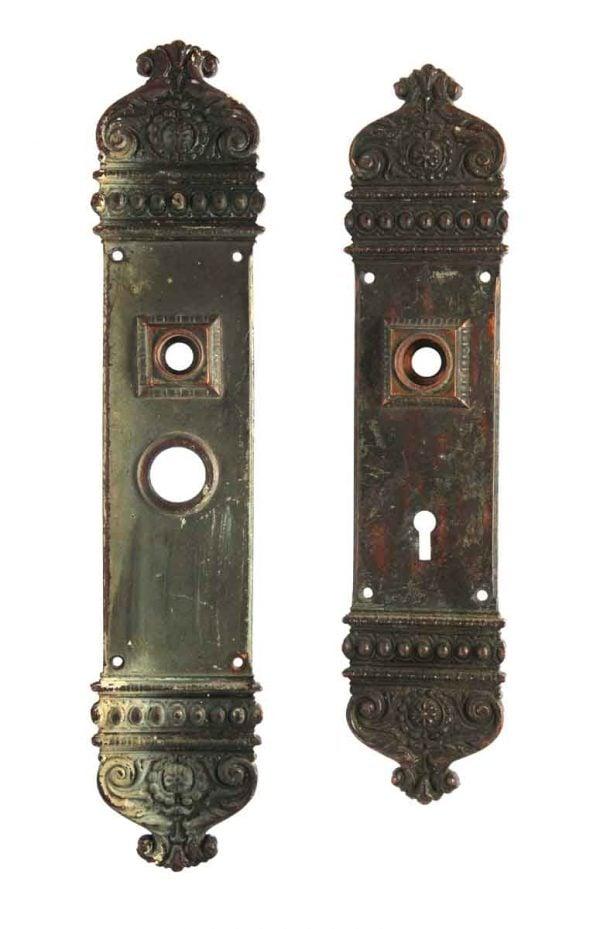 Back Plates - Antique Russwin Bronze Courtenay Entry Door Plate Set