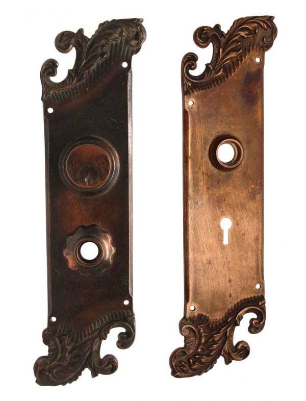 Back Plates - Art Nouveau Reading Bronze Door Plate Set