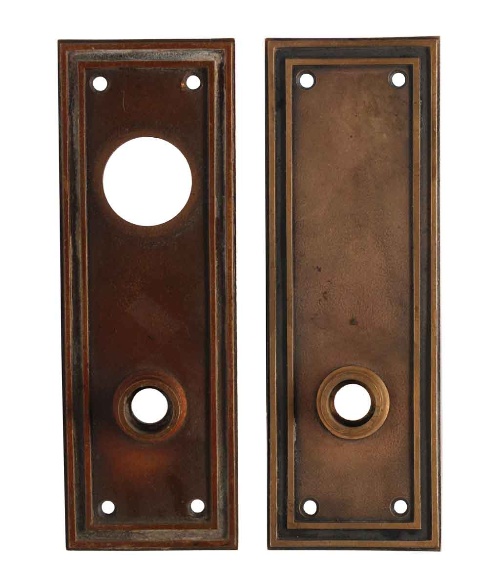 Back Plates - Pair of Antique Bronze Doric Entry Door Plates - Pair Of Antique Bronze Doric Entry Door Plates Olde Good Things