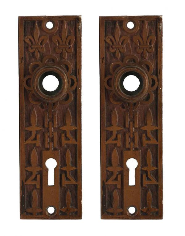 Back Plates - Pair of Bronze Mallory Wheeler Back Plates