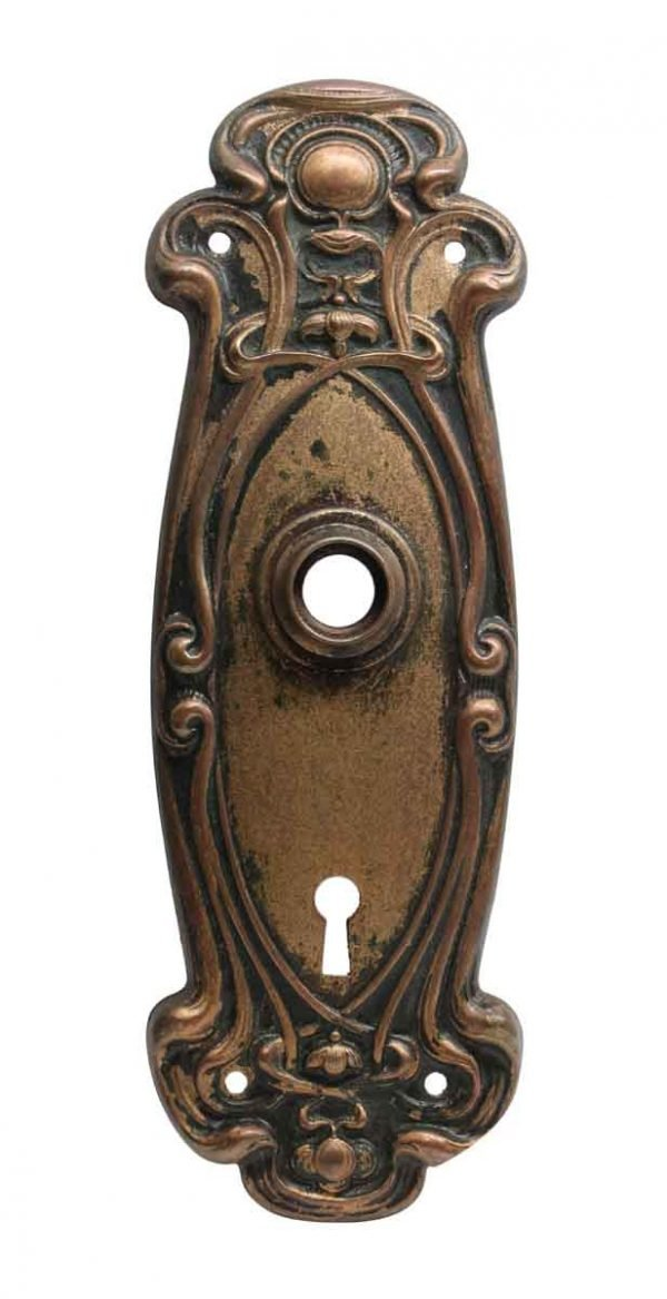 Back Plates - Pressed Brass Art Nouveau Back Plate with Keyhole