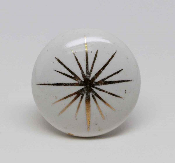 Cabinet & Furniture Knobs - Vintage White Porcelain Cabinet Knob with Gold Detail