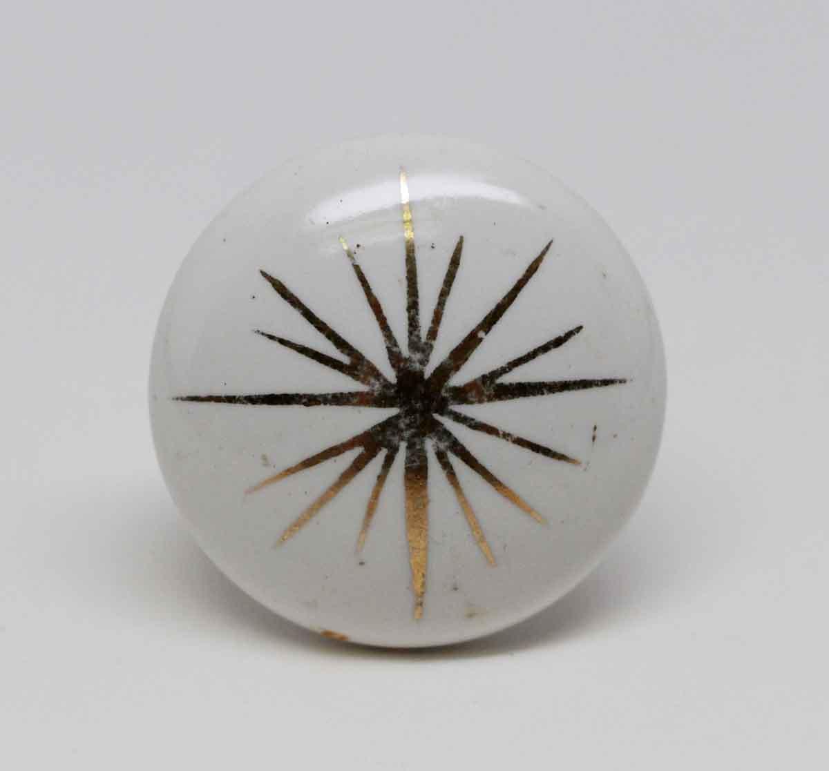 Cabinet U0026 Furniture Knobs   Vintage White Porcelain Cabinet Knob With Gold  Detail