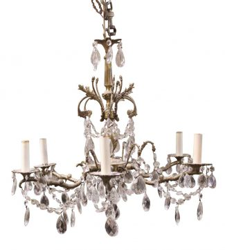 Antique chandeliers olde good things crystal brass six arm chandelier from the waldorf astoria hotel aloadofball Image collections