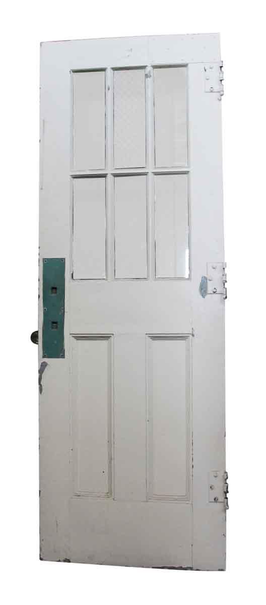 Commercial Doors - Blue and White Metal & Chicken Wire Glass Door