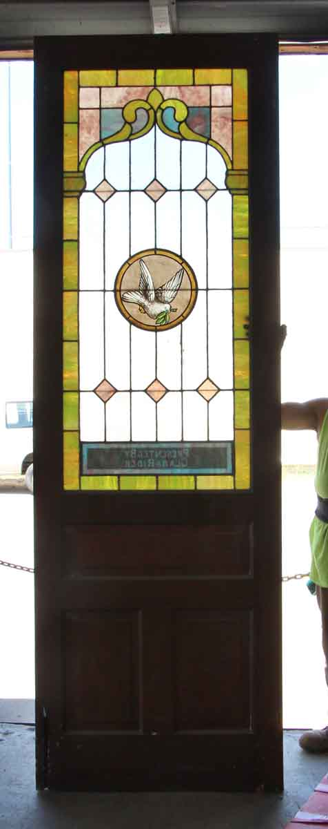 Salvaged Stained Glass Pine Door Olde Good Things