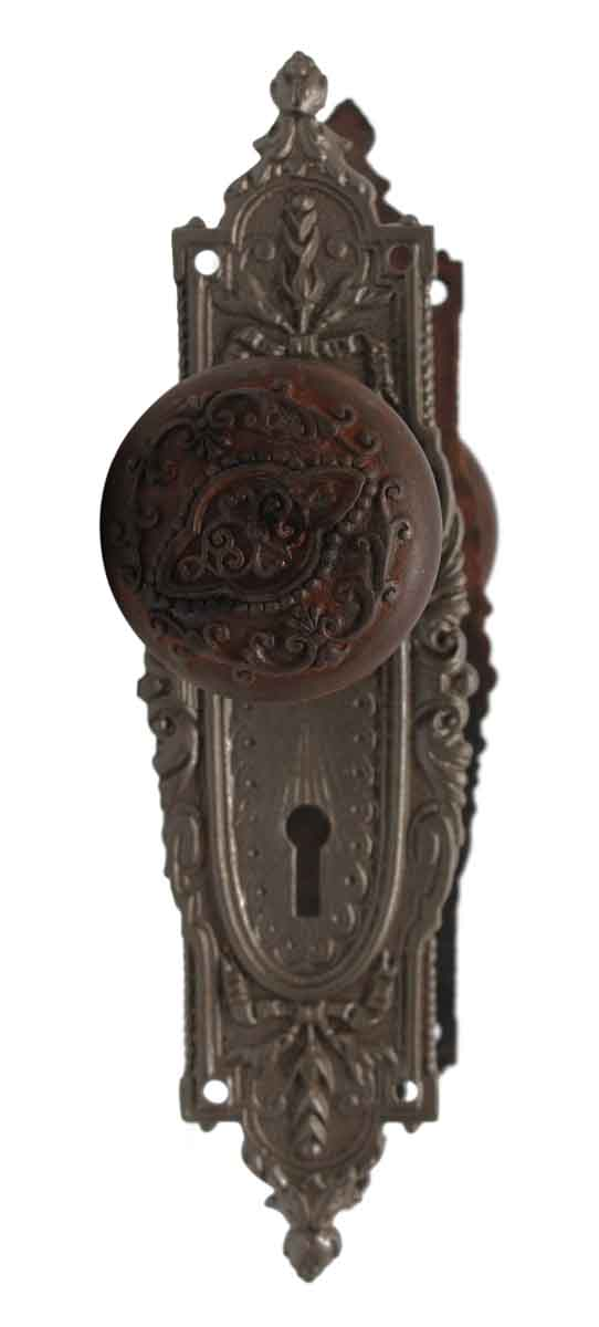 Door Knob Sets - Cast Iron Yale & Towne Vernacular Door Knob & Plate Set