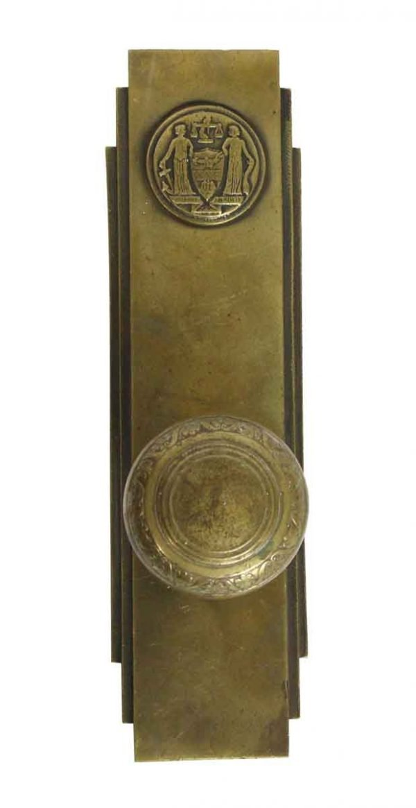 Door Knob Sets - Philadelphia Civic Center Art Deco Door Knob & Plate Set