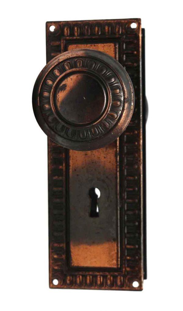 Door Knob Sets - Steel Egg & Dart Copper Japan Door Knob Set