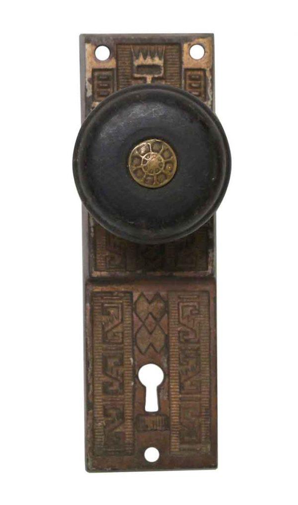 Door Knob Sets - Wood Door Knob with Aesthetic Cast Iron Plate