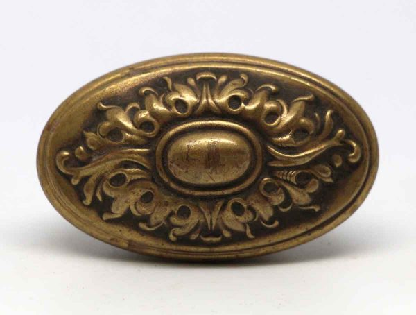 Door Knobs - Hollow Ornate Oval Brass Entry Door Knob