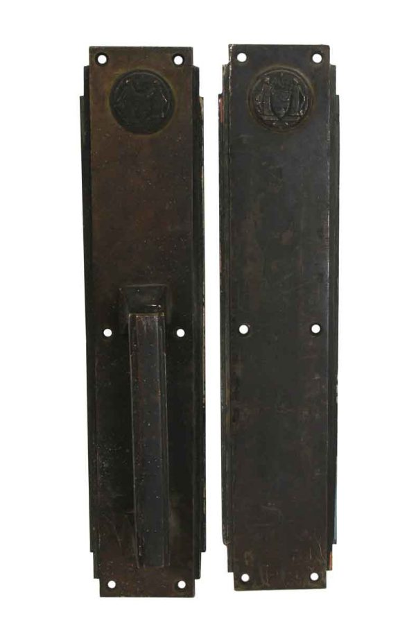 Door Pulls - Art Deco Corbin Philadelphia Civic Center Door Pull & Push Plate Set
