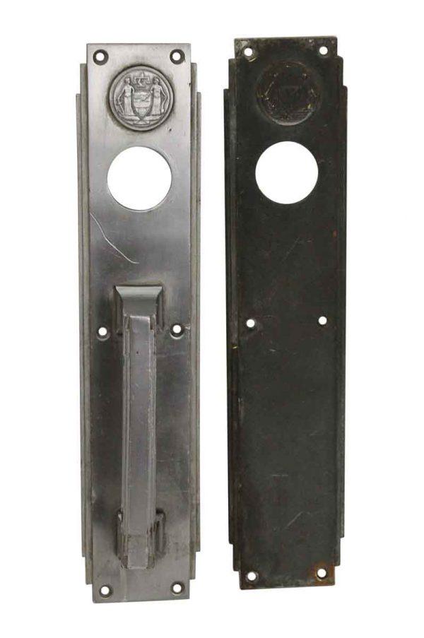 Door Pulls - Art Deco Philadelphia Civic Center Corbin Nickel Door Pull & Push Plate Set