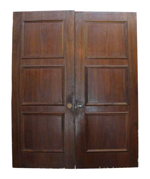 Entry Doors - Pair of Three Panel Wooden Doors