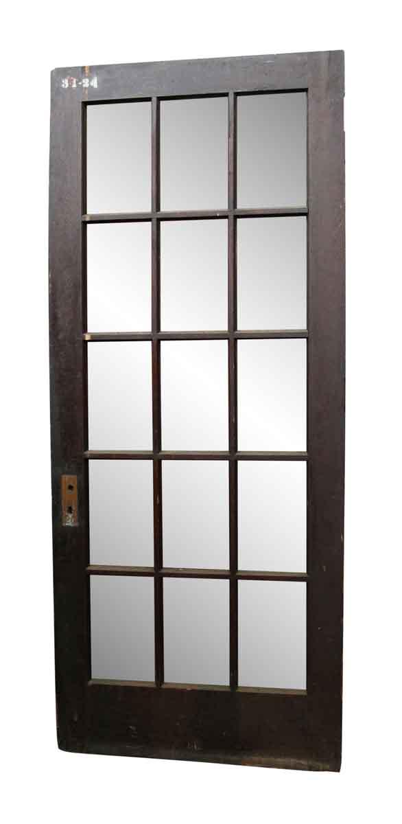 French Doors - Dark Tone Wood Door with 15 Glass Panels