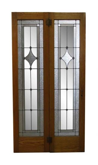 Pair Of Wood Frame Narrow Leaded Glass Sidelites
