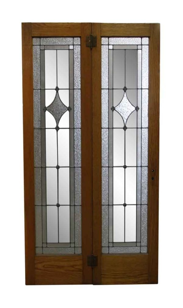 French Doors - Pair of Wood Frame Narrow Leaded Glass Sidelites