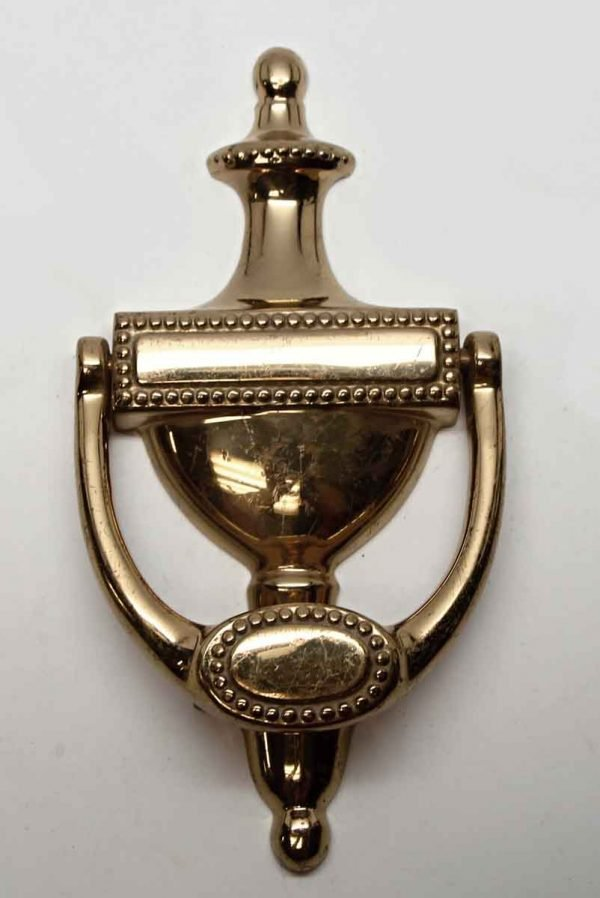 Knockers & Door Bells - Beaded New Polished Brass Door Knocker