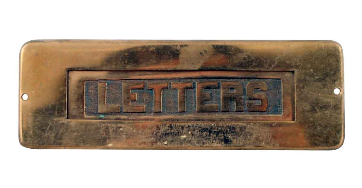 Mail Hardware - Antique Russell & Erwin Solid Brass Door Letter Slot - Antique Russell & Erwin Solid Brass Door Letter Slot Olde Good Things