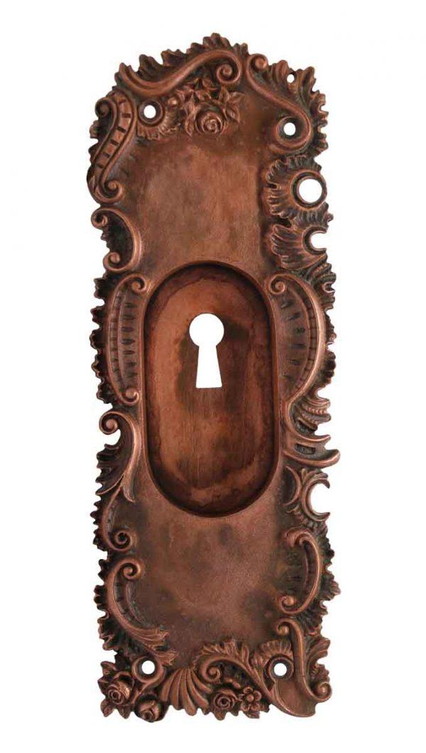 Pocket Door Hardware - Antique Bronze Art Nouveau Pocket Door Plate