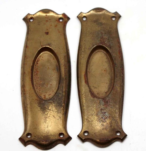 Pocket Door Hardware - Brass Plated Steel Pocket Door Plates
