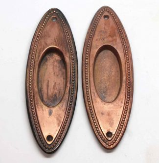 Copper Plated Brass Oval Beaded Pocket Door Plates