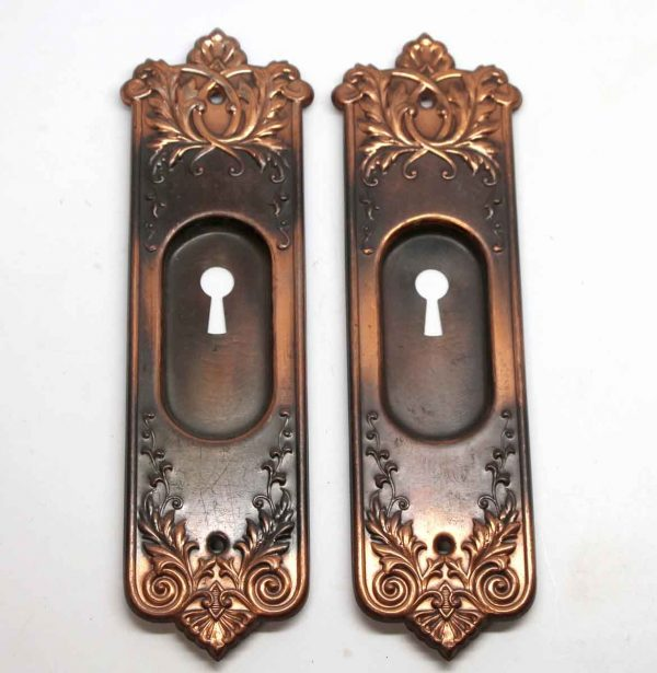Pocket Door Hardware - Ornate Copper & Black Finish Steel Pocket Door Plates