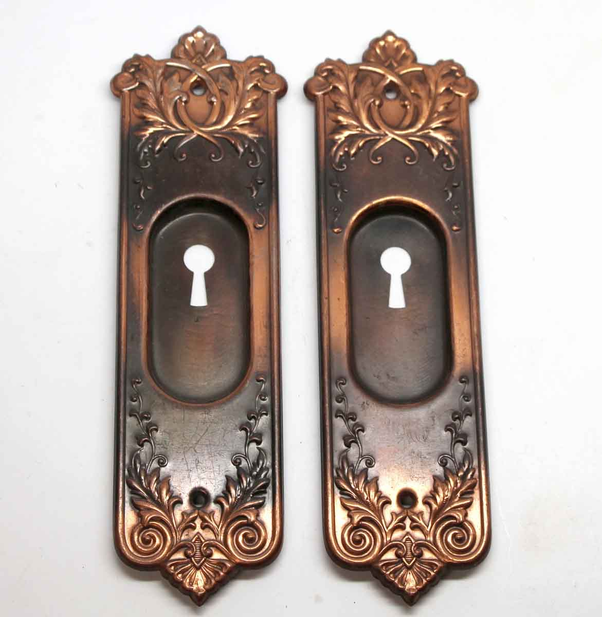 Bon Pocket Door Hardware   Ornate Copper U0026 Black Finish Steel Pocket Door Plates