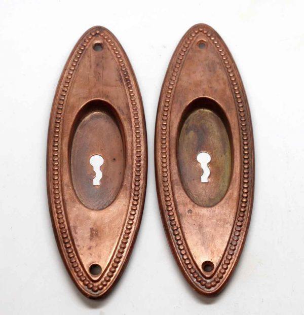 Pocket Door Hardware - Oval Brass Beaded Copper Plated Pocket Door Plates