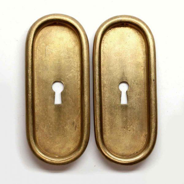 Pocket Door Hardware - Pair of Brass Pocket Door Plates with Keyholes