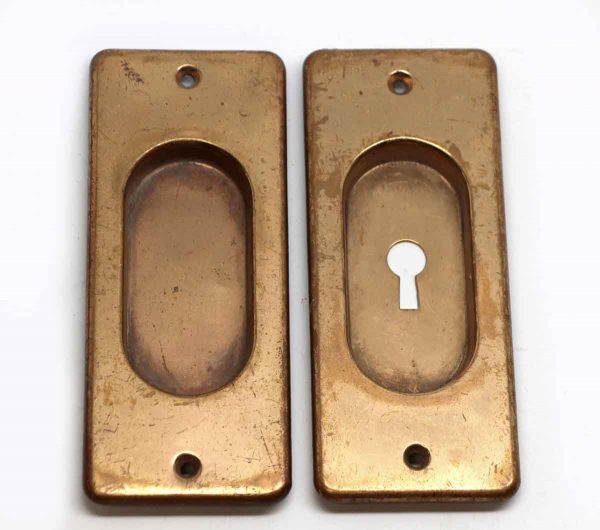 Pocket Door Hardware - Pair of Brass Recessed Pocket Door Plates