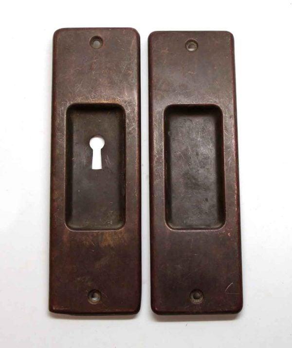 Pocket Door Hardware - Pair of Classic Brass Recessed Pocket Door Pulls