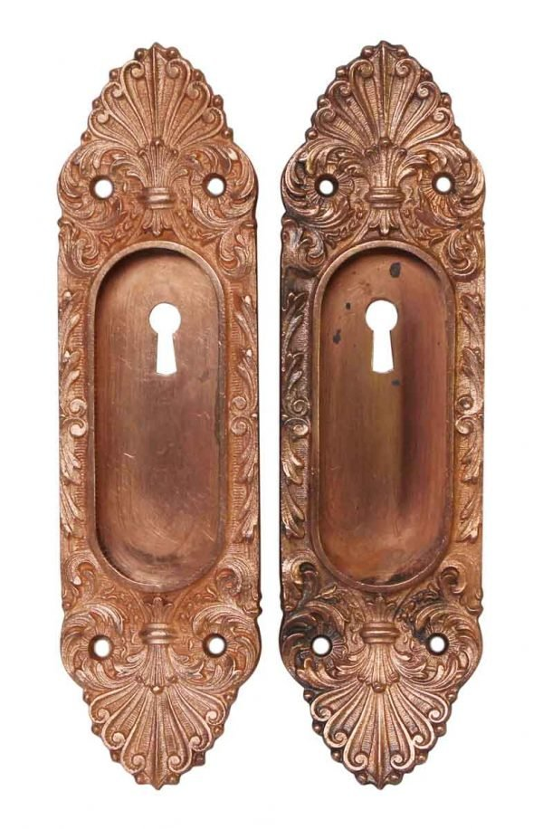 Pocket Door Hardware - Pair of Copper French Pocket Door Plates