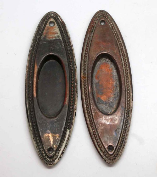 Pocket Door Hardware - Pair of Dark Patina Brass Beaded Oval Pocket Door Plates