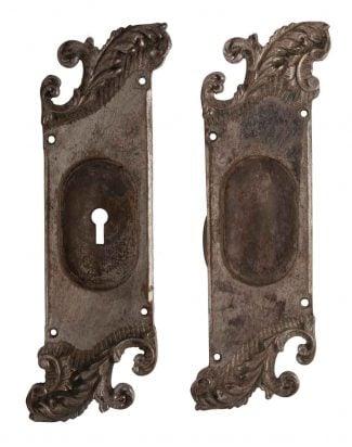 Pair Of Nickel Over Bronze Reading Pocket Door Back Plates