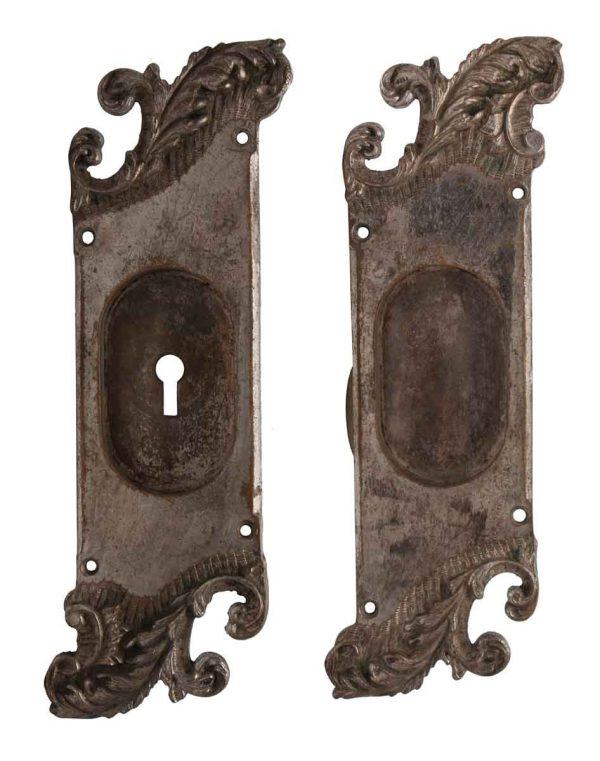 Pocket Door Hardware - Pair of Nickel Over Bronze Reading Pocket Door Back Plates