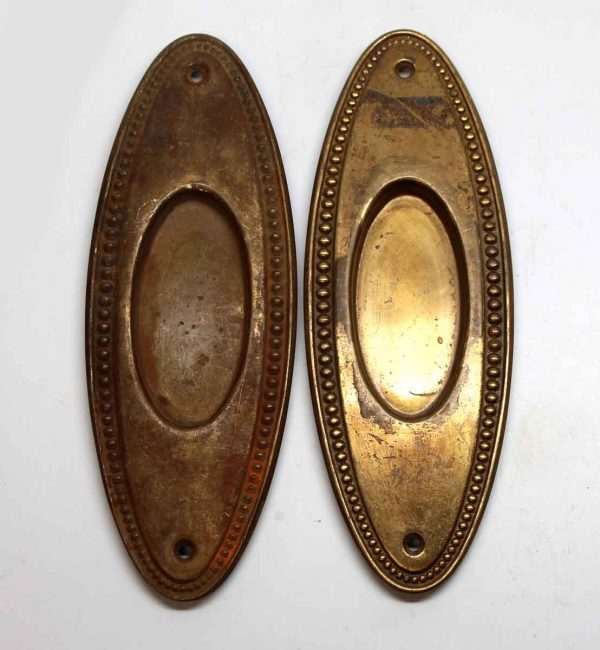 Pocket Door Hardware - Pair of Oval Pocket Door Plates with Beaded Trim