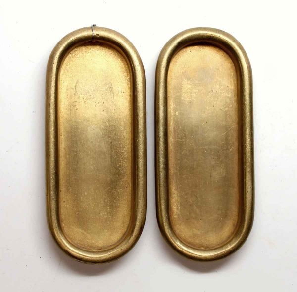 Pocket Door Hardware - Pair of Polished Brass Pocket Door Plates