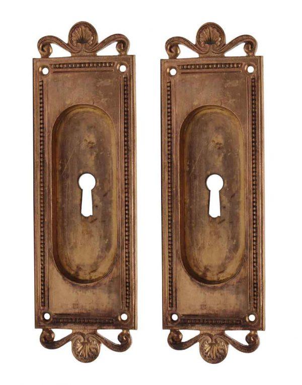 Pocket Door Hardware - Pair of Recessed Neoclassical Bronze Pocket Door Plates